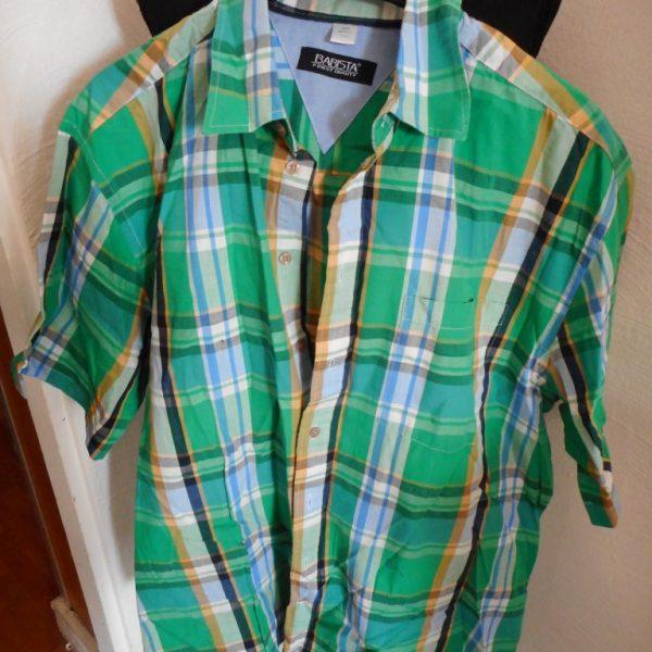 Geblokt Overhemd.Groen Geblokt Overhemd Babista Korte Mouw Mt 43 44 Rv134